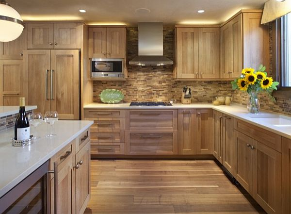 Charming Kitchen Cabinetry Make Alluring Kitchen Atmosphere: Kitchen With Wooden Tile Backsplash And Wooden Cabinetry