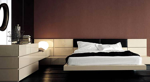Italian Modern Bedroom Furniture With Aesthetic Drawing: Lacquer And Leather Modern Bed