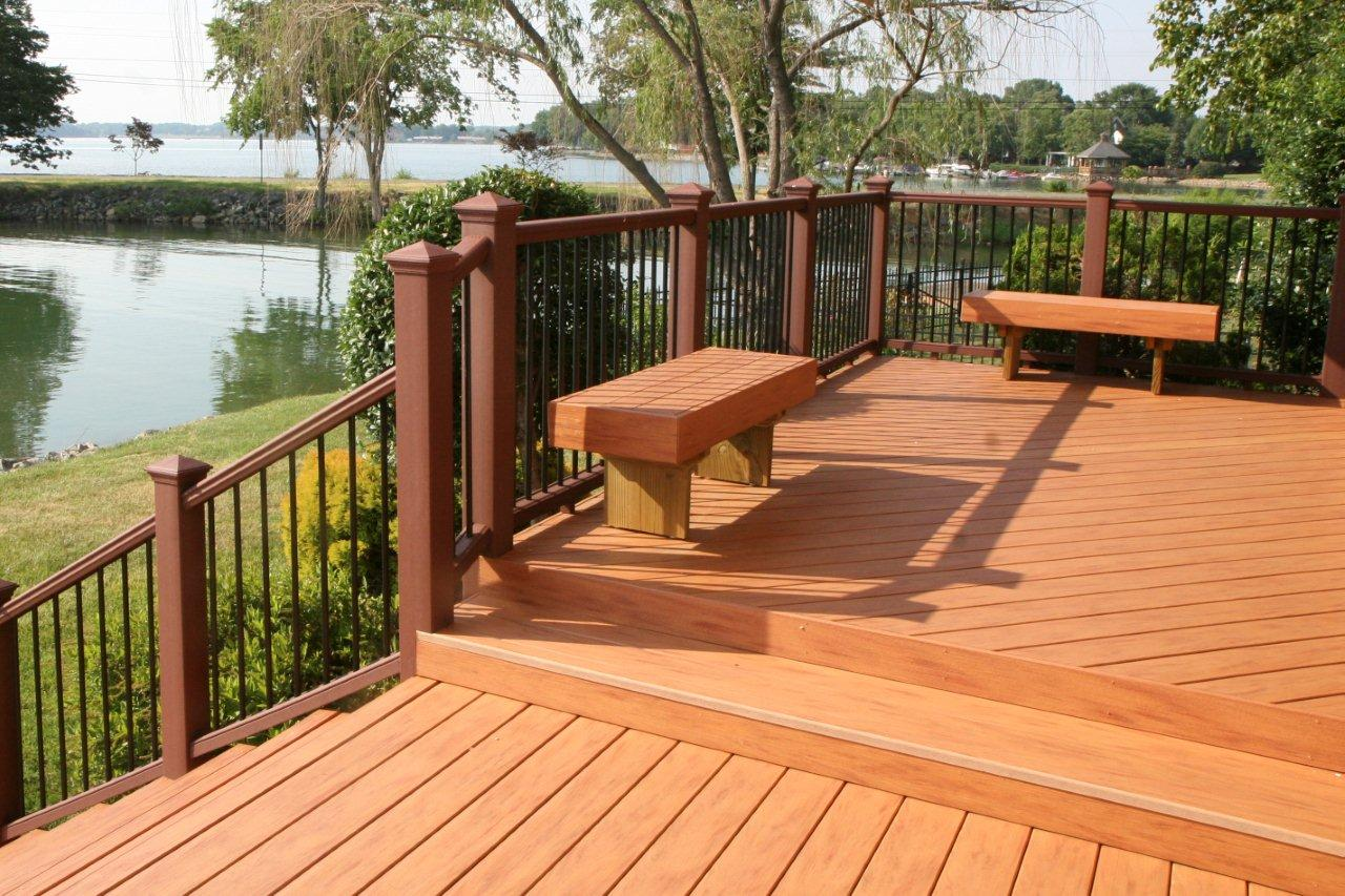Modern Outside Decks For Outdoor Lounge : Lake View Backyard Garden Great Outside Decks Design