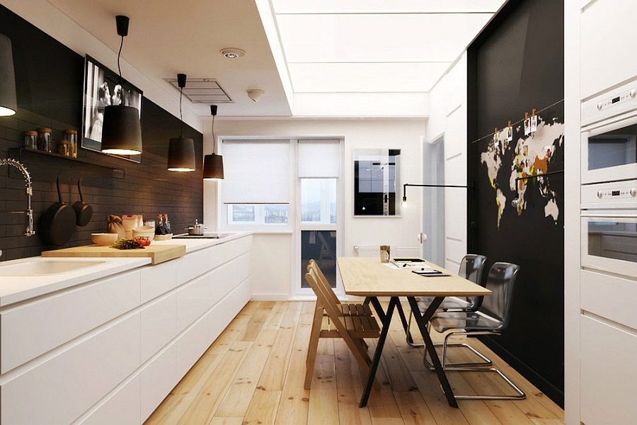 Compact Small Apartment In Black And White Decoration : Large Black Pendants Above The Kitchen Counter With Black Color Design In Modern Kitchen Interior