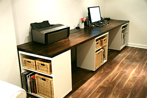 Wall Mounted Desks For Saving Space : Large DIY Desk With Storage Shelves