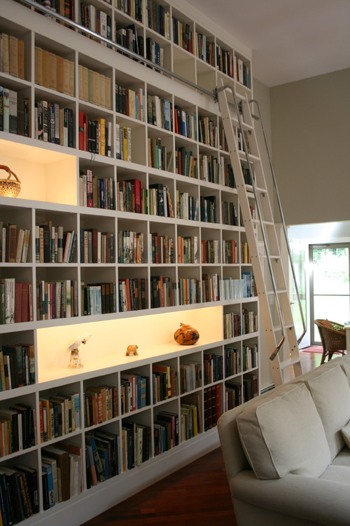 Modern Custom Home Library Design With Wooden Furniture: Large White Bookshelves Custom Home Library Design Ideas