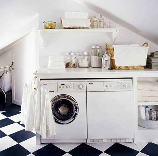 Wonderful Laundry Room With Smart Arrangement To Create Compact Environment: Laundry Room With Black And White Tiled Flooring ~ stevenwardhair.com Laundry Room Inspiration