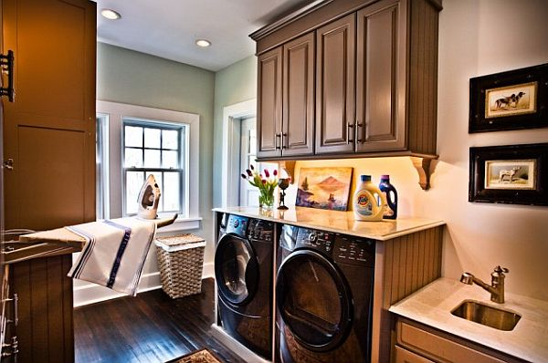 Wonderful Laundry Room With Smart Arrangement To Create Compact Environment: Laundry Room With Fold Down Ironing Board Folding Top Washer Dryer Built In Wood Floors Laundry Sink Marble Tops Bead Board ~ stevenwardhair.com Laundry Room Inspiration