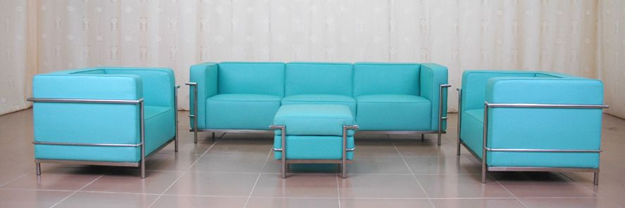 Best Sofas For Modern Futuristic Houses : Le Corbusier Grande Modern Blue Leather 4 Pc Sofa Set