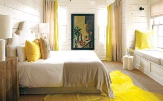 Modern Yellow Bedroom For Unique Resting Experience: Light Bedroom With Yellow Rug On Wooden Floor