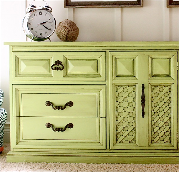 Colorful Bedroom Dressers With Bright Color Concept: Lime Green Dresser With Bronze Hardware Wool Ball And Alarm Clock1