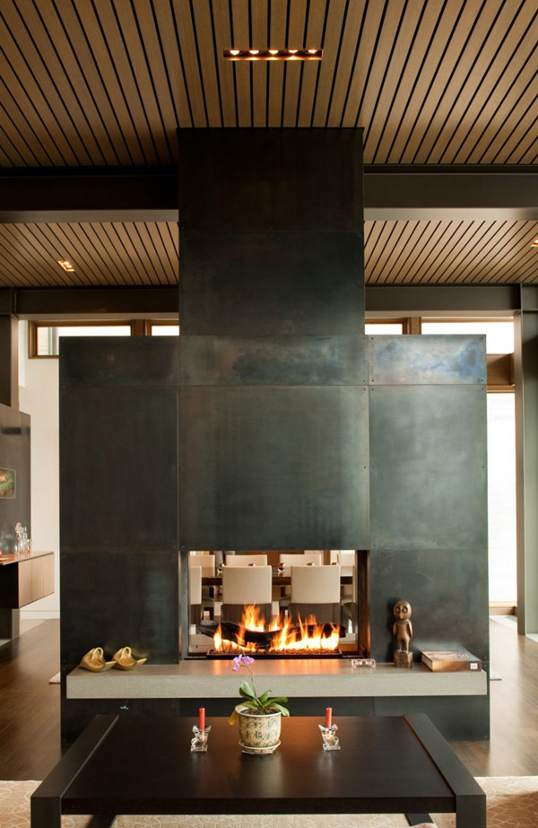 Astonishing Washington Park Hilltop Residence : Living Room Fireplace