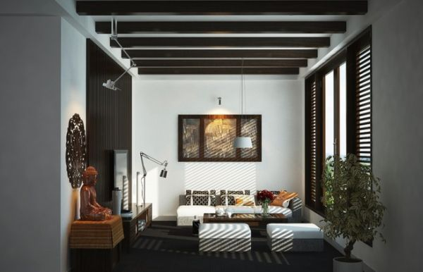 Charming Asian Modern Interiors : Living Room With An Asian Inspired Theme