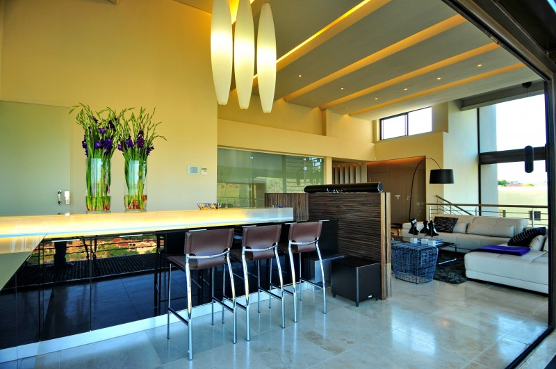 Awesome Luxurious House Interior Furnished With High Class Furniture: Living Room With Bar Stools