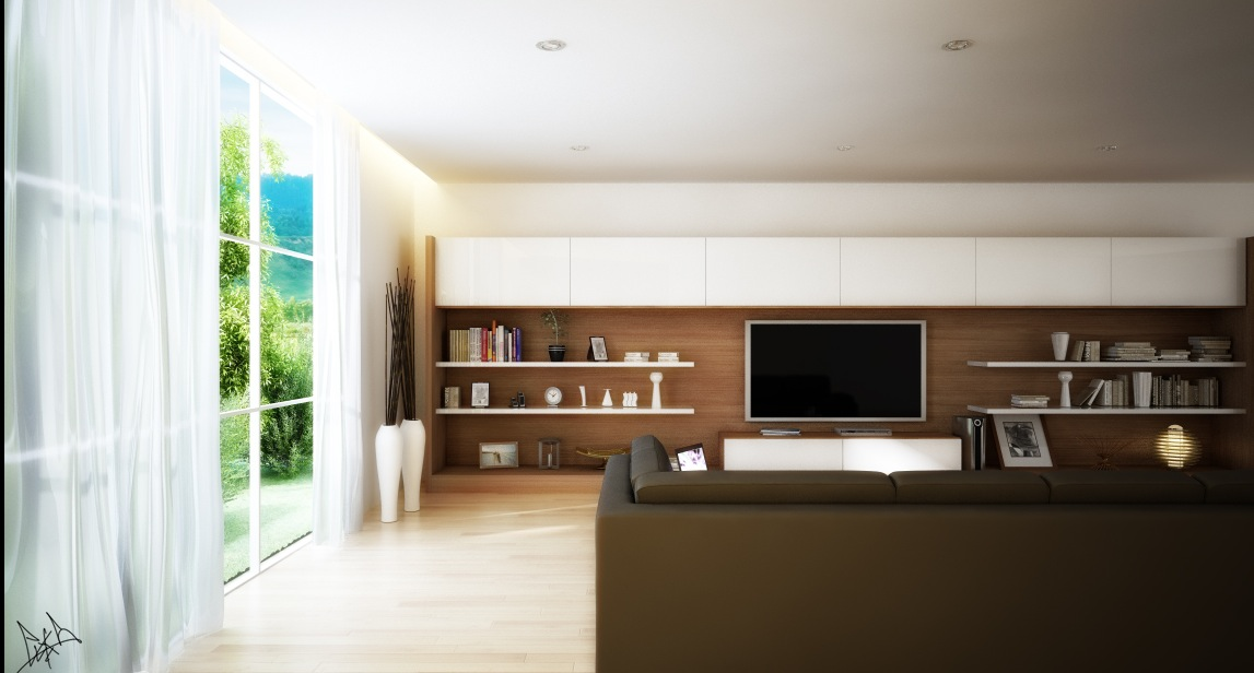 Stylish Living Room Designs Comes With The Interesting Idea : Long Tv Wall Unit