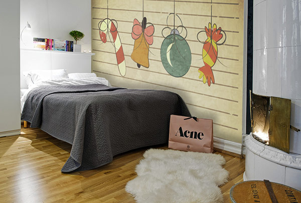Christmas Decor Idea: Living Room And Dining Room: Lovely Kids Bedroom Decor With Christmas Decals And Traditional Fireplace