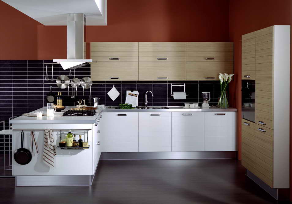 Kitchen Cupboard Doors Performance And View: Lovely Kitchen Glass Tile Backsplash Wooden Kitchen Cupboard Doors