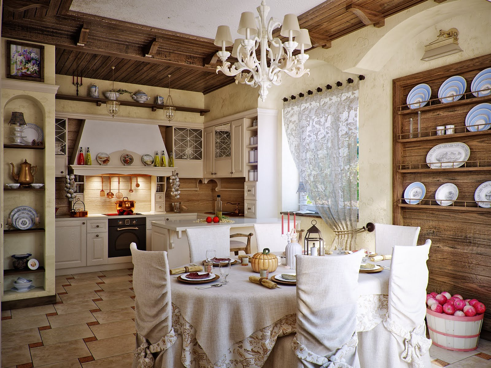 Country Kitchen Designs, Get Warm Feeling: Lovely Small Country Kitchen Design