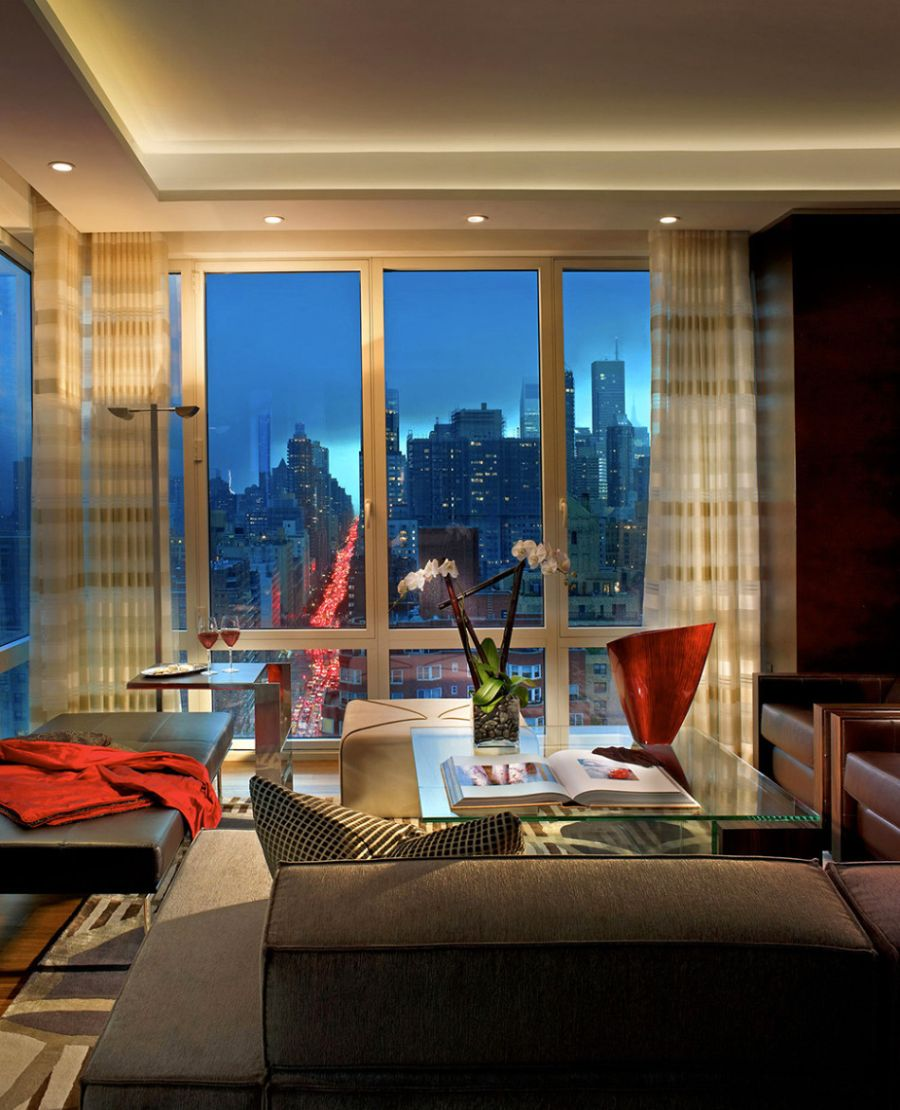 Beautiful Showcase Creating Stylish Interior Impression: Lovely View Of City Skyline From The New York Apartment