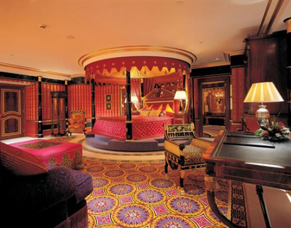 Amazing Designer Interiors; Great Projects: Luxurious Canopy Bed Classic Armchair Designer Interiors Tribal Pattern Carpet