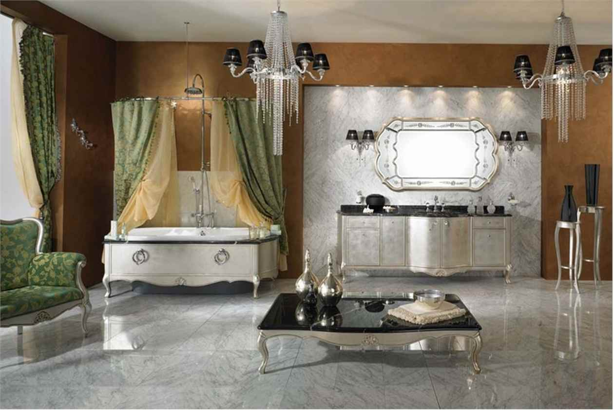Inspirational Bathroom Designs Ideas Bring Out Natural And Cool Touch : Luxurious Classic Bathroom Designs Ideas Crystasl Chandelier Green Shower Curtain