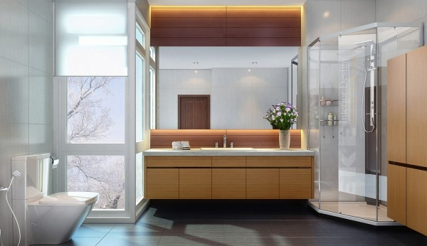 Gorgeous Home Interior Design With Masculine Touch : Luxury Bathroom With Covered Shower Vietnamese Visualizations With Commendable Concepts