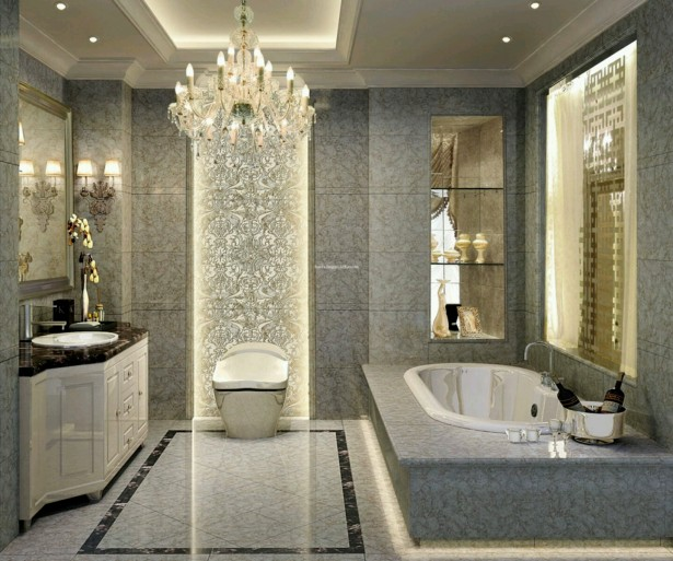 Extraordinary Luxury Bathrooms With High Gloss Finish Washing Stand: Luxury Bathrooms Design Crystal Chandelier Ceramic Tile Backsplash ~ stevenwardhair.com Bathroom Design Inspiration