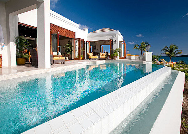 Caribbean Room Bringing Bright Color Design And Style : Luxury Caribbean Villa With Infinity Pool Overlooking Great Ocaen