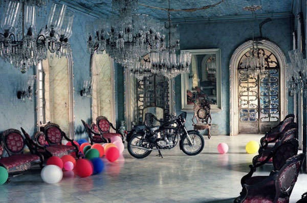 Mesmerizing Motorcycle Display For Gorgeous Decoration Concept: Luxury Classic Dream Motorcycle Garage Decor With Antique Upholstered Bench