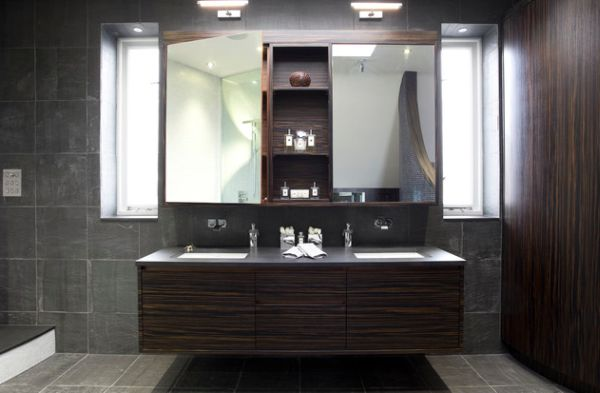 Floating Cabinet And Vanity Set For Every Home: Luxury Floating Bathroom Vanity Stunningly Lit By LED Lights