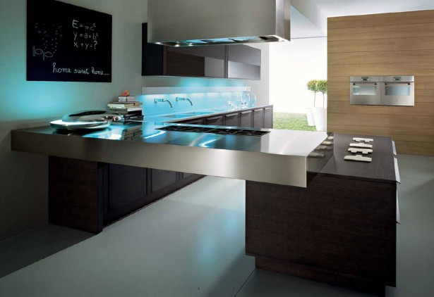 Colorful Modern Kitchen Ideas Offer Rare Model Options: Luxury Modern Kitchen Ideas With Blackboard Metal Kitchen Table ~ stevenwardhair.com Kitchen Designs Inspiration