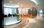Office Interior Designs, Employee Happiness, And Productivity : Luxury Office Design Round Ceiling Office Interior Designs