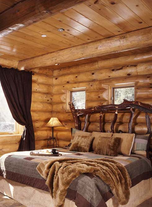 Simple Rustic Bedroom Ideas For Your Inspiration: Magnificent Teak Wood Log Rustic Bedroom Ideas Design