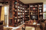 Multipurpose Custom Home Libraries Through Unique Interior Designs : Magnificent Wooden Style Bookshelf Custom Home Libraries Design