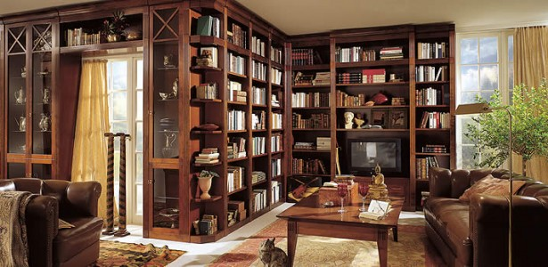 Custom Home Libraries In This Era : Magnificent Wooden Style Bookshelf Custom Home Libraries Design