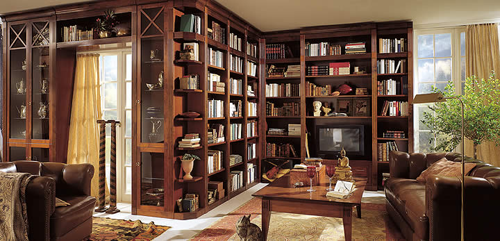 Multipurpose Custom Home Libraries Through Unique Interior Designs: Magnificent Wooden Style Bookshelf Custom Home Libraries Design