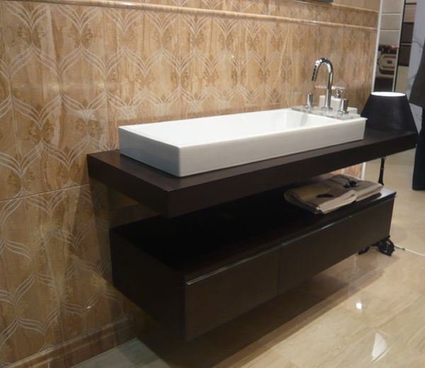 Floating Cabinet And Vanity Set For Every Home : Marble Floored Bathroom With Gorgeous Floating Sink And Cabinet Form