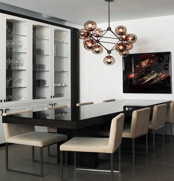 Inspirational Conference Table Design That You Will Love: Marvelous Dining Room Design With Modern Furniture And Chandelier Lighting Style ~ stevenwardhair.com Tables Inspiration