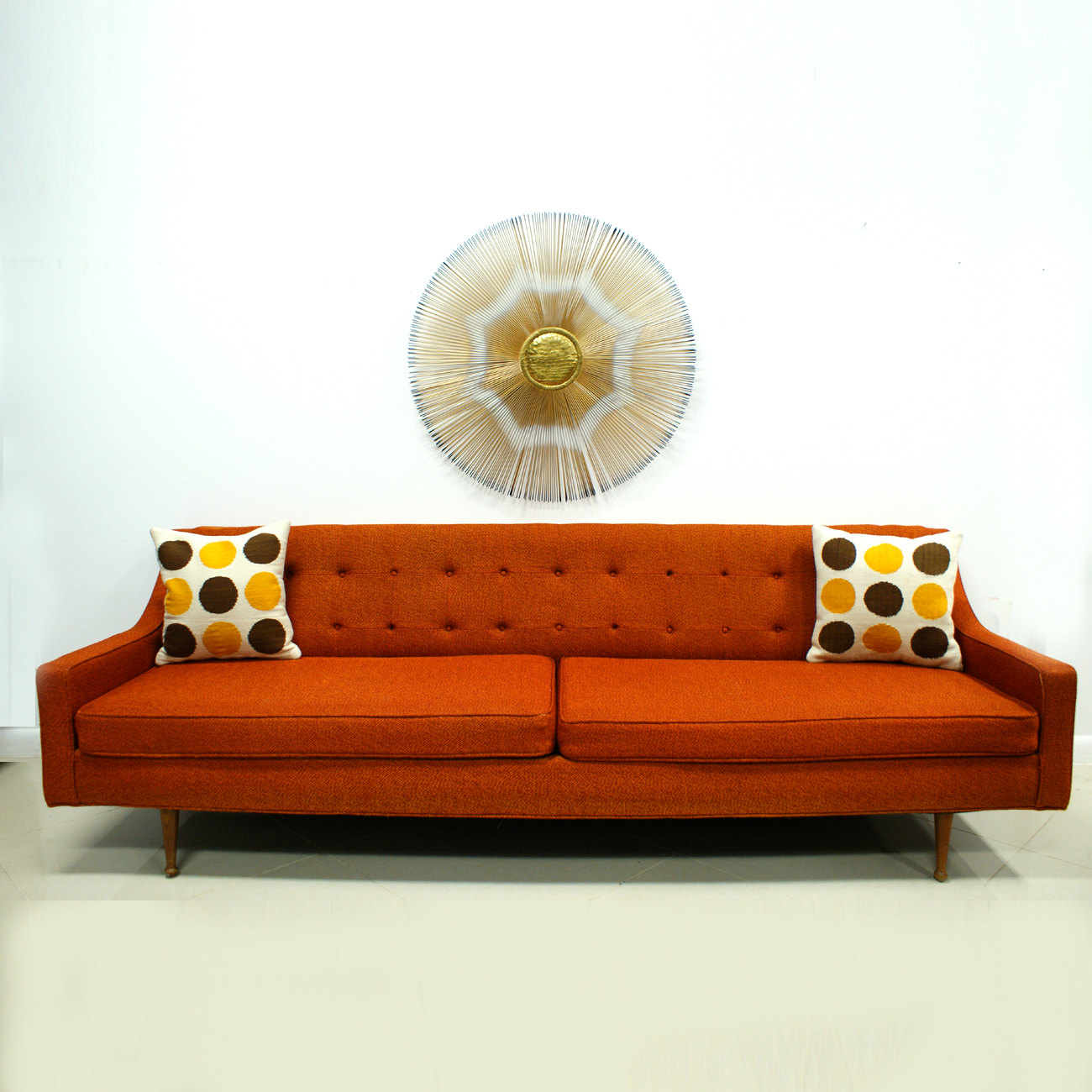 Sofas: Marvelous Modern Minimalist Orange Sofa Splash Color Cushion ...