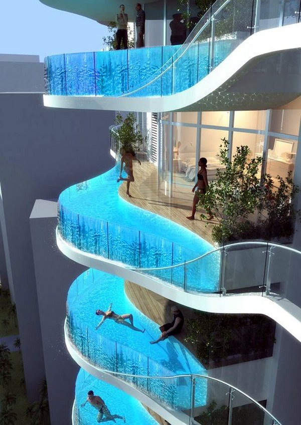 Elegant Hotel With Pool In Room Design Ideas : Marvelous Modern Style Balcony Hotel With Pool In Room Design