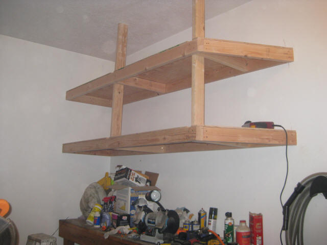 Garage Shelves Is A Simple Way To Save Your Tools : Marvelous Modern Style Teak Wood Garage Shelves DEsign Ideas