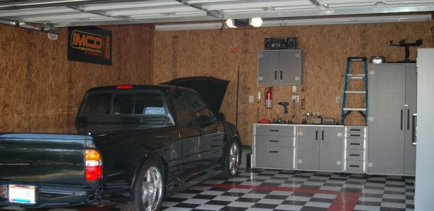 Garage Interior Design Ideas For Minimalist Home : Marvelous Modern Style Wooden Wall Garage Interior Design Ideas