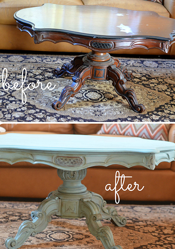 Creative Furniture Modifying Interior Design Perfectly: Marvelous Painted Coffee Table Makeover With Antique Design On Carpet