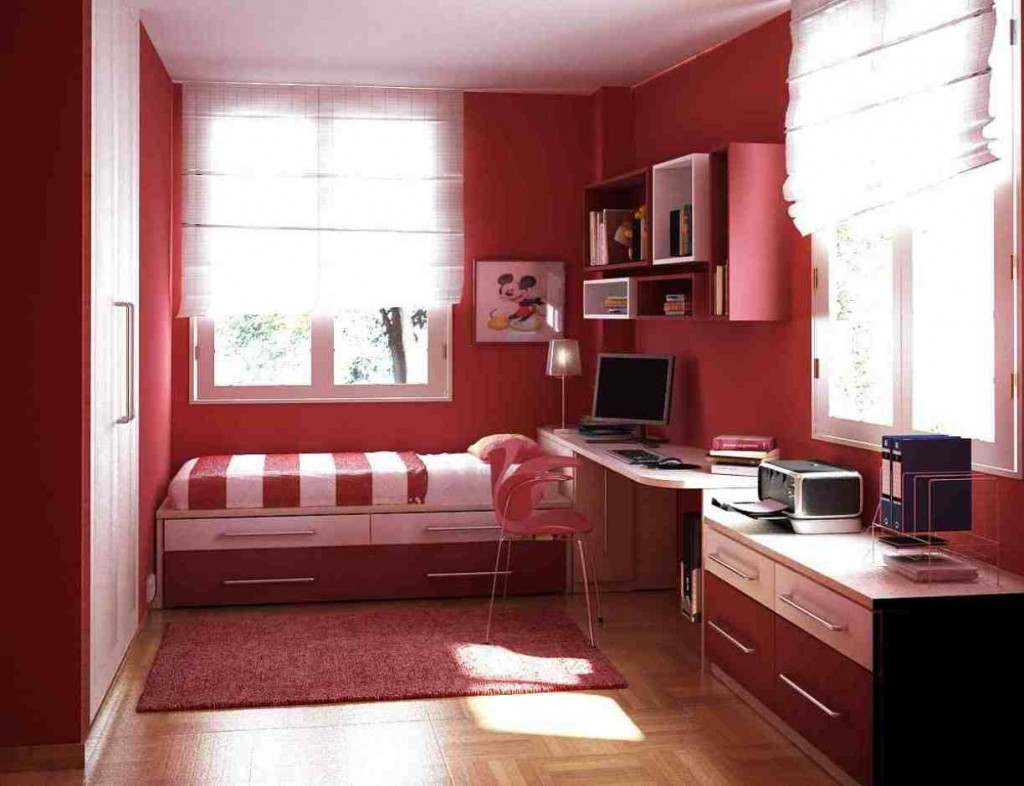 Inspirational Cool Room Designs For Guys With Directed Theme: Masculine Red Bedroom And Study Room For Boy