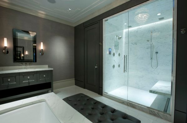 Glass Shower Door For Bigger Impression : Master Bathroom With Glass Doors Offers Visual Connectivity With The Bedroom1