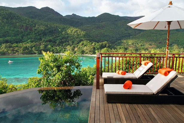 Beautiful Luxurious Resort With Beautiful Natural Views: Memorable View Of Wood Deck Infinity Swimming Pool And Gorgeous Scenic Lake View From Ephelia Constance Resort ~ stevenwardhair.com Hotels & Resorts Inspiration