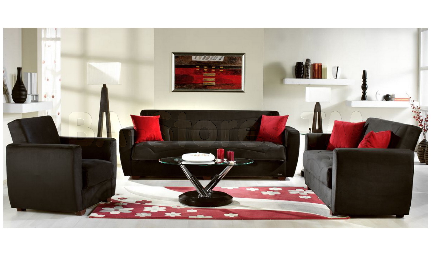 Black Sofas Of Modern Look In A Living Room : Miami Sofa Bed In Rainbow Black