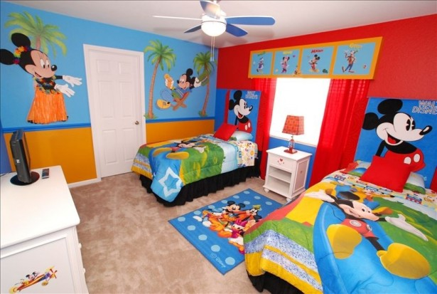 Cute Mickey Mouse Clubhouse Bedroom For Your Lively Kids: Mickey Mouse And Pals Bedroom A Royal With Custom Wallpaper ~ stevenwardhair.com Bedroom Design Inspiration