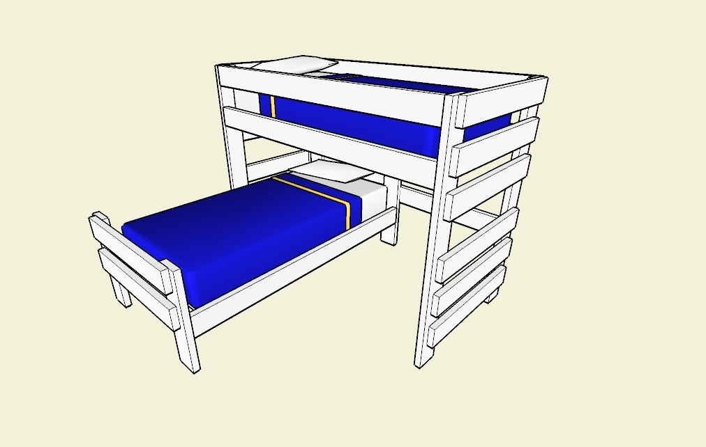 Simple L Shaped Bunk Beds For Small Bedroom Space: Mid South Bunk Bed L Shaped Bunk Beds Design