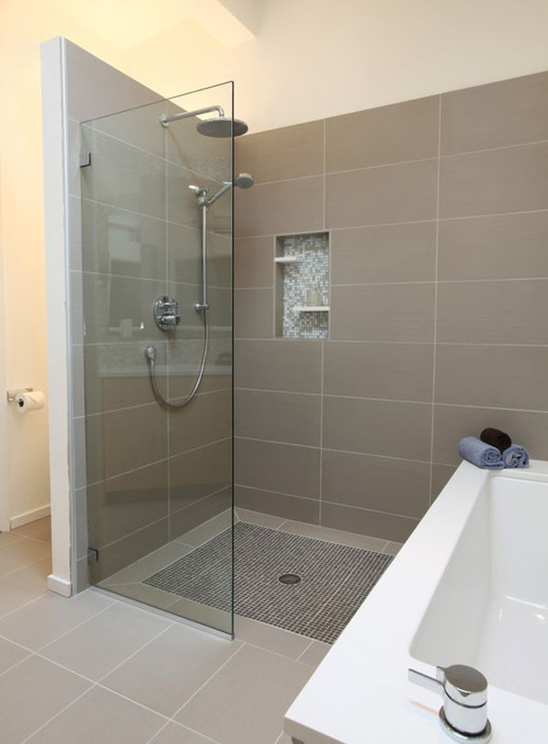 Glass Shower Door For Bigger Impression: Midcentury Modern Master Bathroom With Understated Class