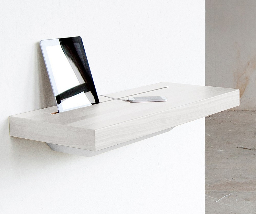 Versatile Simple Desk To Manage Your Gadget Cable Mess: Minimal Wall Mounted Charging Station Shelf With IPan And IPhone