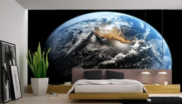 Unique Space Interior For Viavcious Look: Minimalist Bedroom With Wall Mural Depicting A View Of Earth From Space ~ stevenwardhair.com Interior Design Inspiration