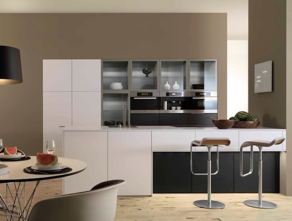 Sparkling Kitchen Cabinet Designs With Glass Doors: Minimalist Modern Kitchen With Glass Cabinets