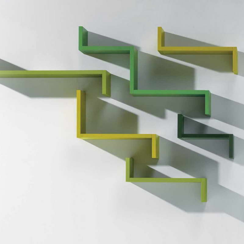 Modular Shelving Units Of Cubit And Grid Wire : Minimalist Wall Shelves Storage Design Green Modular Shelving Units